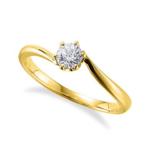 指輪 18金 イエローゴールド 天然石 石座にメレをセットした一粒リング 主石の直径約4.1mm ソリティア ウェーブ 六本爪留め|K18YG 18k 貴金属 ジュエリー レディース メンズ