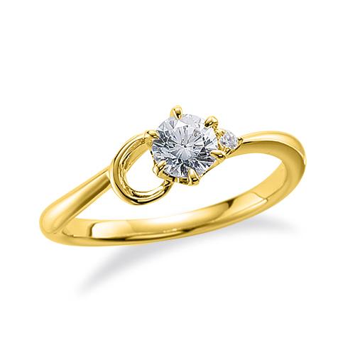 指輪 18金 イエローゴールド 天然石 C イニシャルモチーフのサイドストーンリング 主石の直径約3.8mm ウェーブ 六本爪留め|K18YG 18k 貴金属 ジュエリー レディース メンズ