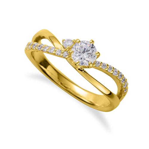 指輪 18金 イエローゴールド 天然石 サイドストーンリング 主石の直径約4.4mm ウェーブ 割り腕 六本爪留め|K18YG 18k 貴金属 ジュエリー レディース メンズ