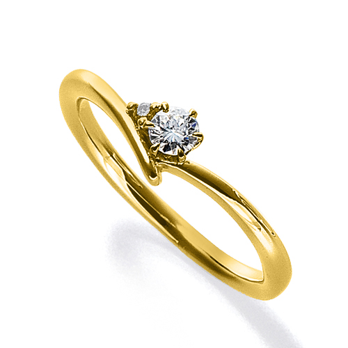 指輪 18金 イエローゴールド 天然石 サイドストーンリング 主石の直径約3.0mm V字 六本爪留め|K18YG 18k 貴金属 ジュエリー レディース メンズ