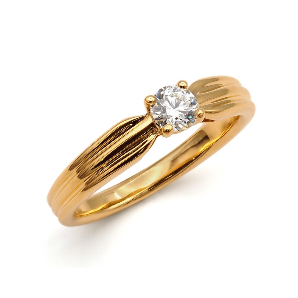 指輪 18金 イエローゴールド 天然石 スリーラインの一粒リング 主石の直径約4.1mm ソリティア しぼり腕 四本爪留め K18YG 18k 貴金属 ジュエリー レディース メンズ