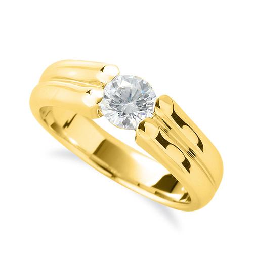 指輪 18金 イエローゴールド 天然石 ダブルラインの一粒リング 主石の直径約3.8mm ソリティア 四本爪留め|K18YG 18k 貴金属 ジュエリー レディース メンズ