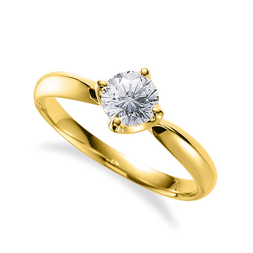 指輪 18金 イエローゴールド 天然石 一粒リング 主石の直径約4.4mm ソリティア しぼり腕 四本爪留め|K18YG 18k 貴金属 ジュエリー レディース メンズ