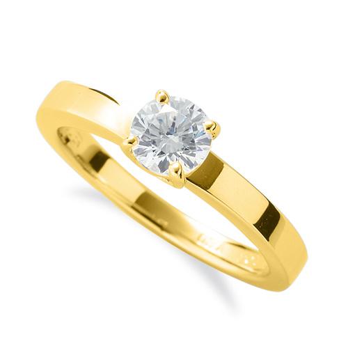 指輪 18金 イエローゴールド 天然石 一粒リング 主石の直径約5.2mm ソリティア 平打ち 四本爪留め|K18YG 18k 貴金属 ジュエリー レディース メンズ