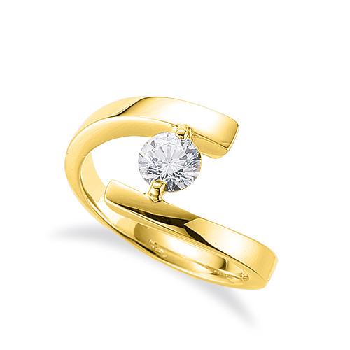 指輪 18金 イエローゴールド 天然石 一粒リング 主石の直径約5.2mm ソリティア ウェーブ 平打ち 二本爪留め|K18YG 18k 貴金属 ジュエリー レディース メンズ