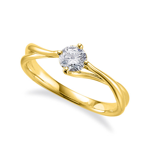 指輪 18金 イエローゴールド 天然石 一粒リング 主石の直径約5.2mm ソリティア ウェーブ 割り腕 四本爪留め|K18YG 18k 貴金属 ジュエリー レディース メンズ
