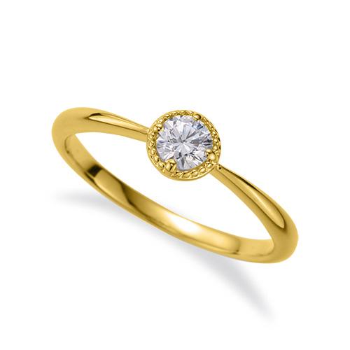 指輪 18金 イエローゴールド 天然石 花モチーフの一粒リング 主石の直径約3.8mm ソリティア 四本爪留め|K18YG 18k 貴金属 ジュエリー レディース メンズ