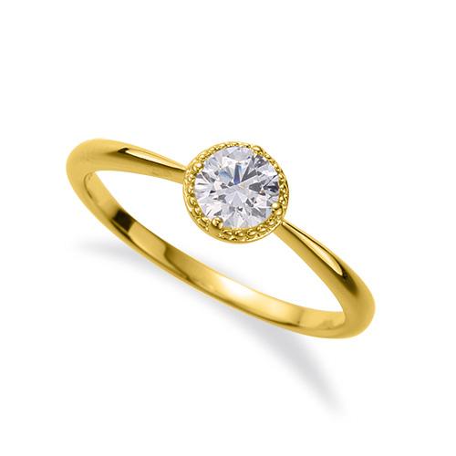 指輪 18金 イエローゴールド 天然石 花モチーフの一粒リング 主石の直径約4.4mm ソリティア 四本爪留め|K18YG 18k 貴金属 ジュエリー レディース メンズ