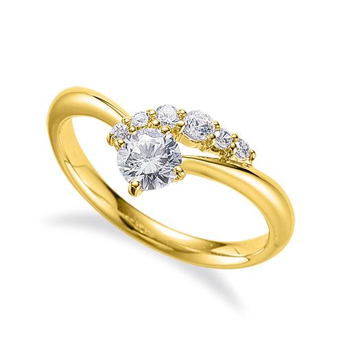 指輪 18金 イエローゴールド 天然石 サイドストーンリング 主石の直径約5.2mm V字 四本爪留め|K18YG 18k 貴金属 ジュエリー レディース メンズ