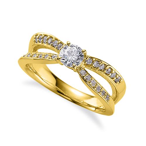 指輪 18金 イエローゴールド 天然石 サイドストーンリング 主石の直径約5.2mm 割り腕 四本爪留め|K18YG 18k 貴金属 ジュエリー レディース メンズ