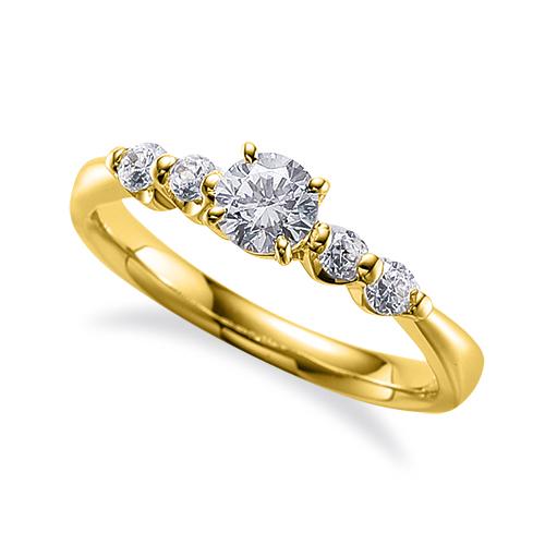 指輪 18金 イエローゴールド 天然石 サイドストーンリング 主石の直径約5.2mm 四本爪留め K18YG 18k 貴金属 ジュエリー レディース メンズ