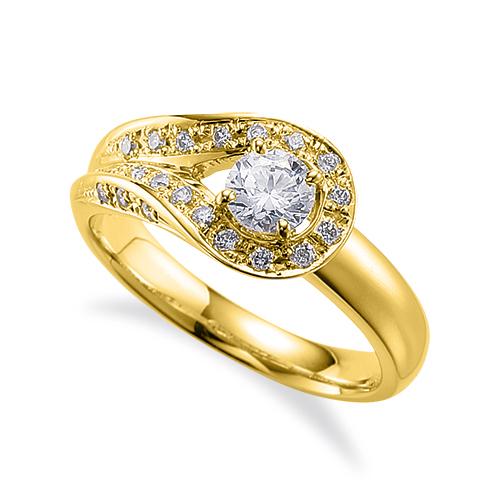指輪 18金 イエローゴールド 天然石 三面メレの豪華なサイドストーンリング 主石の直径約4.4mm 割り腕 四本爪留め|K18YG 18k 貴金属 ジュエリー レディース メンズ