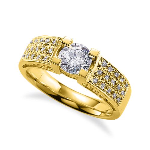 指輪 18金 イエローゴールド 天然石 スクウェア型のサイドパヴェリング 主石の直径約4.4mm 四本爪留め|K18YG 18k 貴金属 ジュエリー レディース メンズ