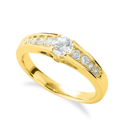 指輪 18金 イエローゴールド 天然石 側面に一粒メレ付きサイド一文字リング 主石の直径約4.4mm 四本爪留め|K18YG 18k 貴金属 ジュエリー レディース メンズ