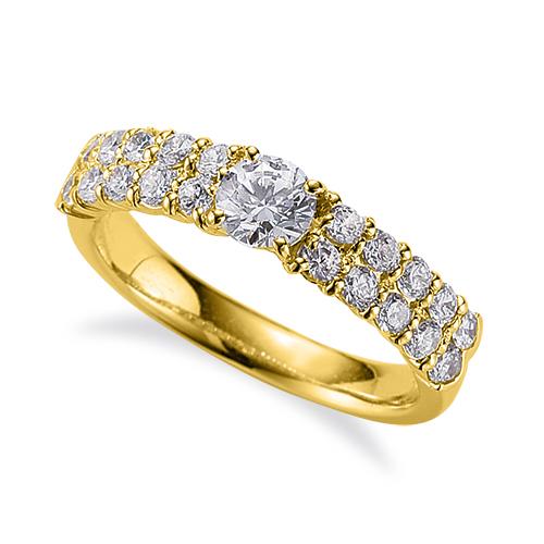 指輪 18金 イエローゴールド 天然石 サイド二文字リング 主石の直径約3.8mm 四本爪留め|K18YG 18k 貴金属 ジュエリー レディース メンズ