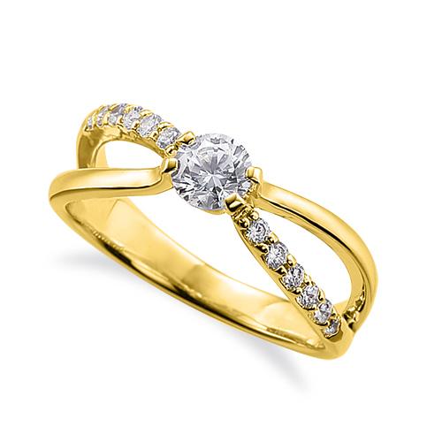指輪 18金 イエローゴールド 天然石 メレがラインになったサイドストーンリング 主石の直径約5.2mm 割り腕 四本爪留め K18YG 18k 貴金属 ジュエリー レディース メンズ