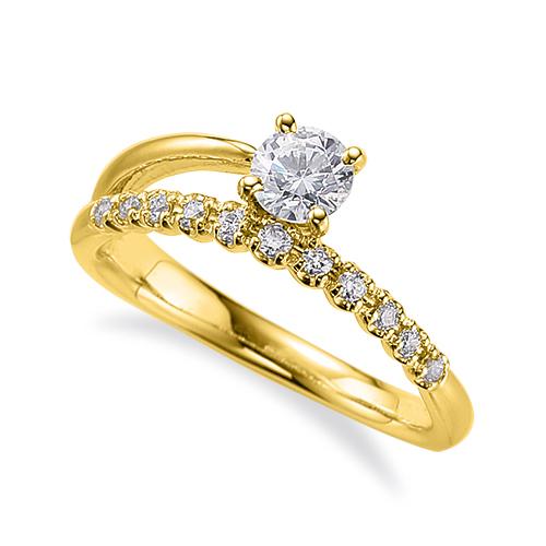 指輪 18金 イエローゴールド 天然石 サイド一文字リング 主石の直径約4.4mm 割り腕 四本爪留め|K18YG 18k 貴金属 ジュエリー レディース メンズ