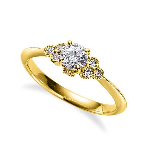 指輪 18金 イエローゴールド 天然石 側面に一粒メレ付きサイドストーンリング 主石の直径約3.8mm 四本爪留め|K18YG 18k 貴金属 ジュエリー レディース メンズ