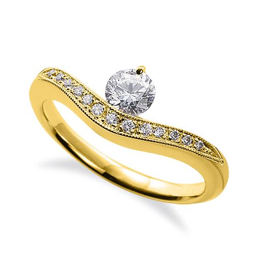 指輪 18金 イエローゴールド 天然石 メレ周りミル打ちのサイド一文字リング 主石の直径約4.4mm V字|K18YG 18k 貴金属 ジュエリー レディース メンズ