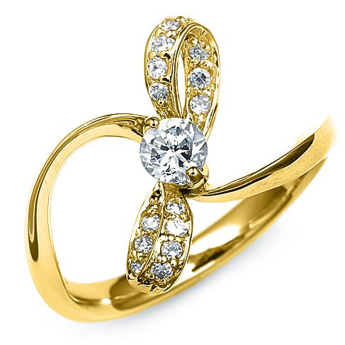 指輪 18金 イエローゴールド 天然石 リボンモチーフのサイドストーンリング 主石の直径約4.4mm ウェーブ 二本爪留め|K18YG 18k 貴金属 ジュエリー レディース メンズ