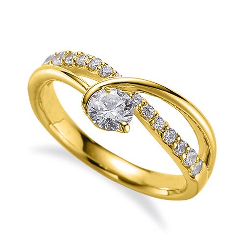 指輪 18金 イエローゴールド 天然石 メレがラインになったサイドストーンリング 主石の直径約3.8mm V字 割り腕 レール留め|K18YG 18k 貴金属 ジュエリー レディース メンズ