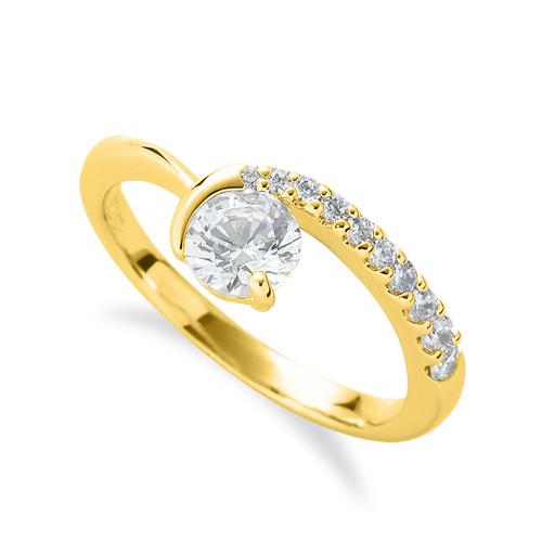 指輪 18金 イエローゴールド 天然石 メレがラインになったサイドストーンリング 主石の直径約5.2mm V字 レール留め|K18YG 18k 貴金属 ジュエリー レディース メンズ