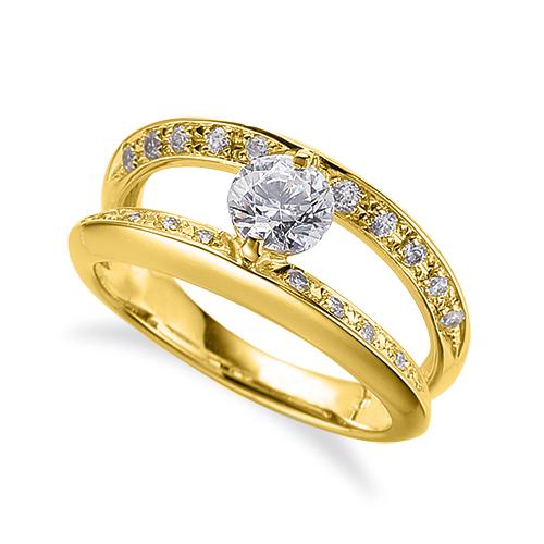 指輪 18金 イエローゴールド 天然石 メレがラインになったサイドストーンリング 主石の直径約4.4mm 割り腕 二本爪留め K18YG 18k 貴金属 ジュエリー レディース メンズ