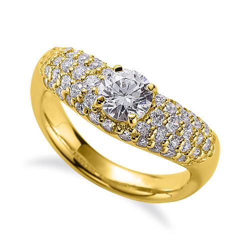指輪 18金 イエローゴールド 天然石 サイドパヴェリング 主石の直径約4.4mm V字 四本爪留め|K18YG 18k 貴金属 ジュエリー レディース メンズ