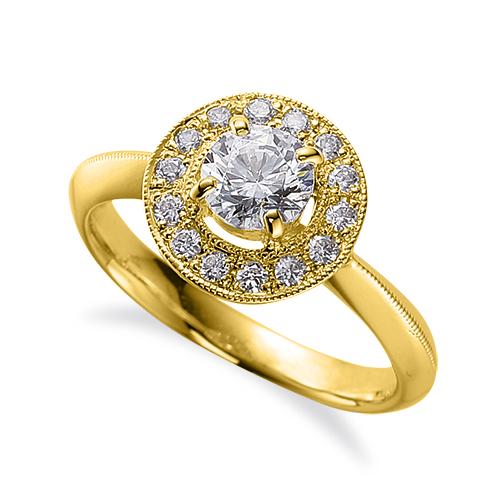 指輪 18金 イエローゴールド 天然石 ミル打ちラインの取り巻きリング 主石の直径約5.2mm 四本爪留め|K18YG 18k 貴金属 ジュエリー レディース メンズ