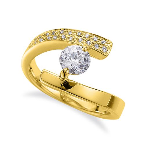 指輪 18金 イエローゴールド 天然石 サイドパヴェリング 主石の直径約4.4mm 平打ち 二本爪留め|K18YG 18k 貴金属 ジュエリー レディース メンズ