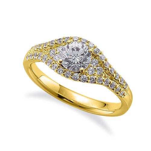 指輪 18金 イエローゴールド 天然石 メレがラインになった取り巻きリング 主石の直径約5.2mm 四本爪留め|K18YG 18k 貴金属 ジュエリー レディース メンズ