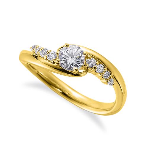 指輪 18金 イエローゴールド 天然石 サイドストーンリング 主石の直径約4.4mm 抱き合わせ腕 四本爪留め|K18YG 18k 貴金属 ジュエリー レディース メンズ