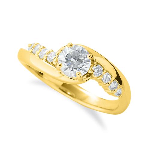 指輪 18金 イエローゴールド 天然石 サイドストーンリング 主石の直径約5.2mm 抱き合わせ腕 四本爪留め|K18YG 18k 貴金属 ジュエリー レディース メンズ