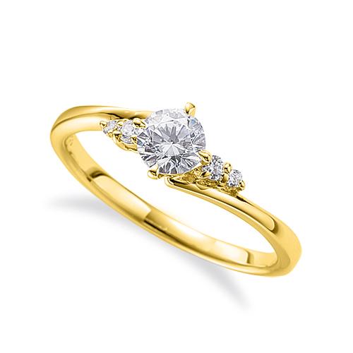 指輪 18金 イエローゴールド 天然石 サイドストーンリング 主石の直径約4.4mm ウェーブ 四本爪留め|K18YG 18k 貴金属 ジュエリー レディース メンズ