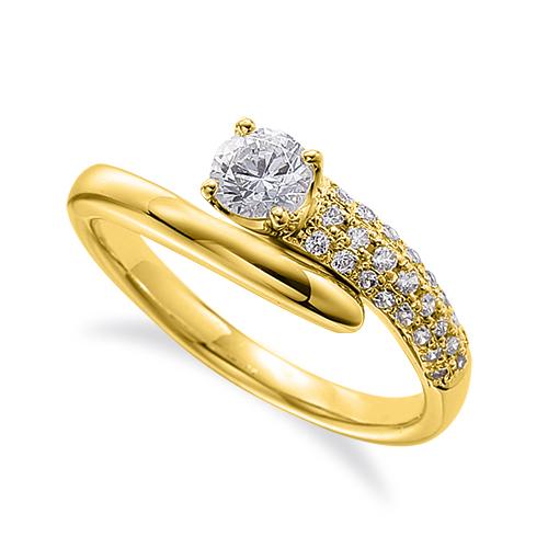 指輪 18金 イエローゴールド 天然石 サイドパヴェリング 主石の直径約4.4mm ウェーブ 四本爪留め K18YG 18k 貴金属 ジュエリー レディース メンズ