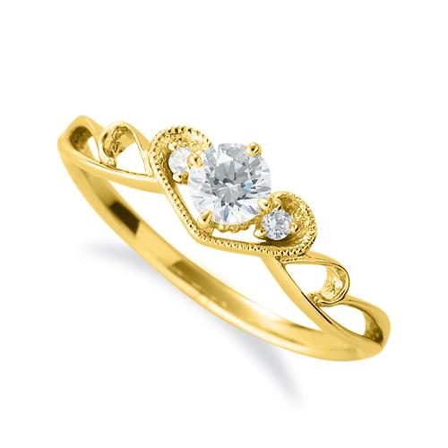 指輪 18金 イエローゴールド 天然石 ティアラモチーフのデザインリング 主石の直径約4.4mm 四本爪留め|K18YG 18k 貴金属 ジュエリー レディース メンズ