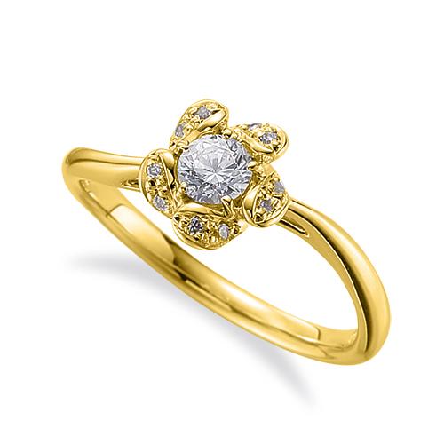指輪 18金 イエローゴールド 天然石 花モチーフの取り巻きリング 主石の直径約3.8mm ウェーブ 五本爪留め|K18YG 18k 貴金属 ジュエリー レディース メンズ