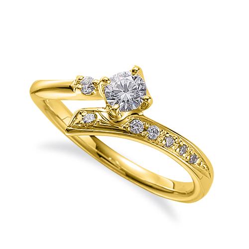 指輪 18金 イエローゴールド 天然石 サイドストーンリング 主石の直径約3.8mm ウェーブ 四本爪留め|K18YG 18k 貴金属 ジュエリー レディース メンズ