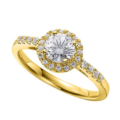 指輪 18金 イエローゴールド 天然石 サイド一文字の取り巻きリング 主石の直径約5.2mm 四本爪留め|K18YG 18k 貴金属 ジュエリー レディース メンズ