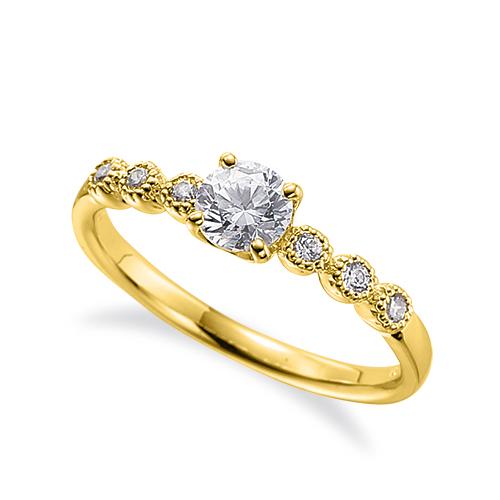 指輪 18金 イエローゴールド 天然石 メレ周りミル打ちのサイドストーンリング 主石の直径約4.4mm 四本爪留め|K18YG 18k 貴金属 ジュエリー レディース メンズ