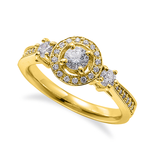指輪 18金 イエローゴールド 天然石 サイドストーンの取り巻きリング 主石の直径約3.8mm 四本爪留め|K18YG 18k 貴金属 ジュエリー レディース メンズ