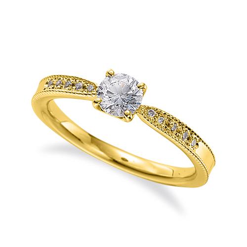 指輪 18金 イエローゴールド 天然石 両端ミル打ちのサイド一文字リング 主石の直径約4.4mm 四本爪留め|K18YG 18k 貴金属 ジュエリー レディース メンズ