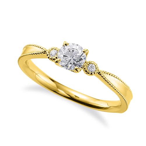 指輪 18金 イエローゴールド 天然石 両端ミル打ちのサイドストーンリング 主石の直径約4.4mm しぼり腕 四本爪留め|K18YG 18k 貴金属 ジュエリー レディース メンズ