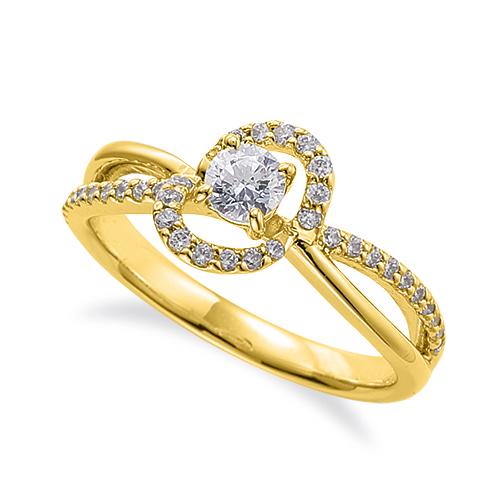 指輪 18金 イエローゴールド 天然石 メレがラインになった取り巻きリング 主石の直径約3.8mm ウェーブ 割り腕 四本爪留め|K18YG 18k 貴金属 ジュエリー レディース メンズ