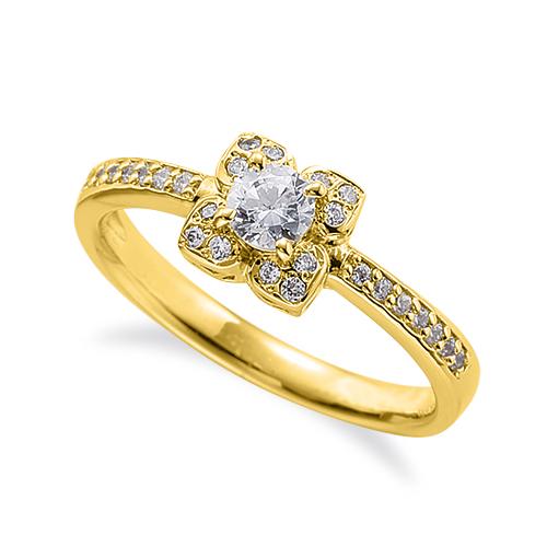 指輪 18金 イエローゴールド 天然石 花モチーフの取り巻きリング 主石の直径約3.8mm 四本爪留め|K18YG 18k 貴金属 ジュエリー レディース メンズ