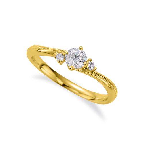指輪 18金 イエローゴールド 天然石 ミル打ちラインのサイドストーンリング 主石の直径約3.8mm ウェーブ 四本爪留め|K18YG 18k 貴金属 ジュエリー レディース メンズ