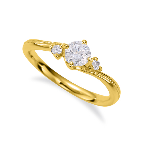 指輪 18金 イエローゴールド 天然石 ミル打ちラインのサイドストーンリング 主石の直径約4.4mm ウェーブ 四本爪留め K18YG 18k 貴金属 ジュエリー レディース メンズ
