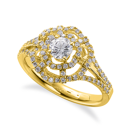 指輪 18金 イエローゴールド 天然石 透かしラインの取り巻きリング 主石の直径約4.4mm 割り腕 四本爪留め K18YG 18k 貴金属 ジュエリー レディース メンズ