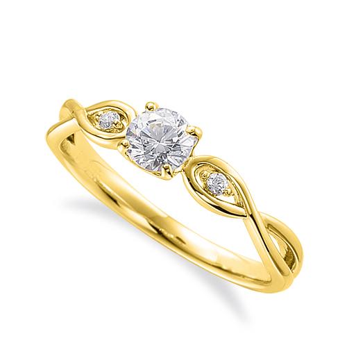 指輪 18金 イエローゴールド 天然石 サイドストーンリング 主石の直径約4.4mm 割り腕 四本爪留め|K18YG 18k 貴金属 ジュエリー レディース メンズ