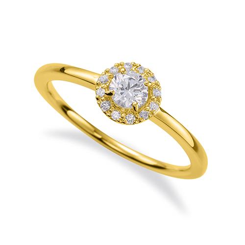 指輪 18金 イエローゴールド 天然石 取り巻きリング 主石の直径約3.8mm 四本爪留め K18YG 18k 貴金属 ジュエリー レディース メンズ
